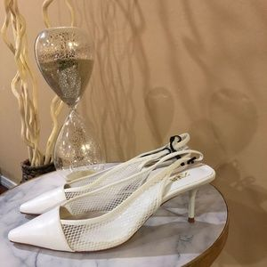 Zara Women Shoes: Pointy White Netted Pumps